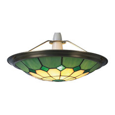 Green Tiffany Glass Easy-Fit Uplight Pendant, Small