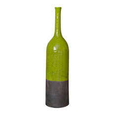 East 2-Toned Raku Ceramic Bottle, Green and Black