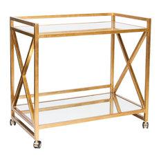 Kerry Hollywood Regency Gold Leaf Mirror Serving Bar Cart