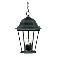 Three Light Matte Black Hanging Lantern