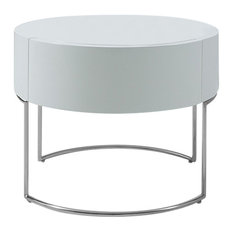 16-inch White Lacquer Stainless Steel Nightstand
