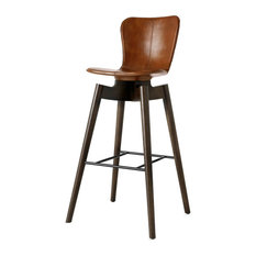 Mater Danish Modern Shell Bar Stool Brown Leather Seat