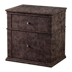 Leatherette Upholstered Wooden Nightstand With Two Drawers Brown