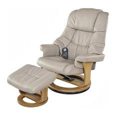 8 Motor Massage Recliner, Wood Base, Heat, Ottoman for Ultimate Comfort, Beige