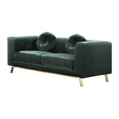 Velvet Loveseat, Emerald Green