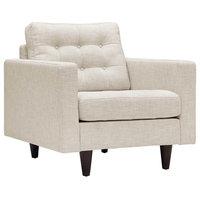 Empress Upholstered Fabric Armchair, Beige