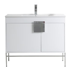 Kuro Contemporary White Bathroom Vanity 40-inch