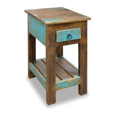 La Boca Rustic Solid Wood Chair Side Table