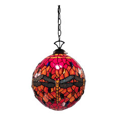 Warehouse Of Tiffany, Inc   Globe Dragonfly Lamp, Red   Pendant Lighting