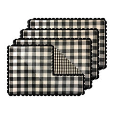 Buffalo Checkered Reversible Placemat, Set of 4, Black