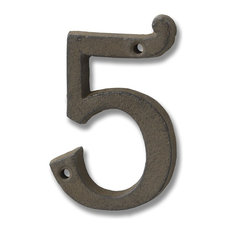 Cast Iron Number '5', Rustic Brown