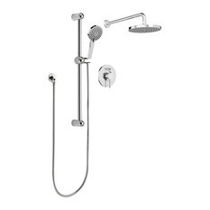 Round Rain Shower Faucet With Pressure Balanced Diverter Valve, Wall