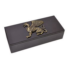 Luxe Faceted Griffon Dragon Bronze Black Marble Box | Mythical Gryphon Sculpture