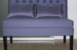 bespoke tufted dining banquette w/lumbar pillows