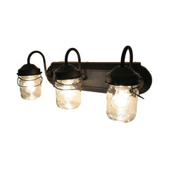 Bathroom Vanity Bar Trio Light Fixture of Pint Mason Jars, Antique Black