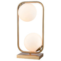 """22"""" Aged Brass and Frosted Glass Elegant Moondance 2-Light Freestanding Square"""