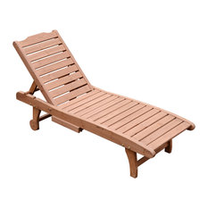 Outsunny Wooden Outdoor Chaise Lounge Patio Pool Chair With Pull-Out Tray