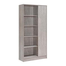 GDF Studio Annabelle Mid Century Finished Faux Wood Bookcase Gray Oak