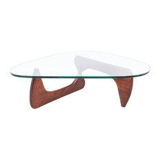 Leisuremod Imperial Modern Gl Top Wooden Base Triangle Coffee Table Cherry