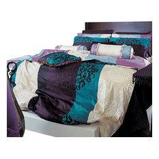 820Tc Turquoise, Purple And Black Damask Sheet Set, Full