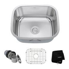 """Kraus USA, Inc. - KRAUS 20"""" Undermount Kitchen Sink 16G Stainless Steel With Grid and Strainer - Kitchen Sinks"""