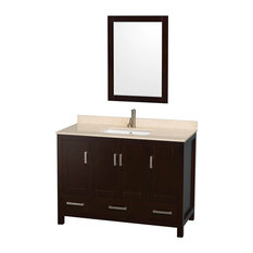 "Wyndham Collection Sheffield 48"" Espresso, Ivory Marble, Square Sink"