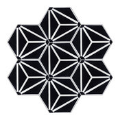 """Atlas A Black/White Evening Handcrafted Cement Tile, 8"""" Hex, Box of 12"""