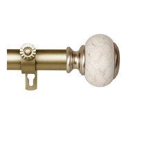 "Hadley 1"" Diameter Curtain Rod, Gold, 120-170"""