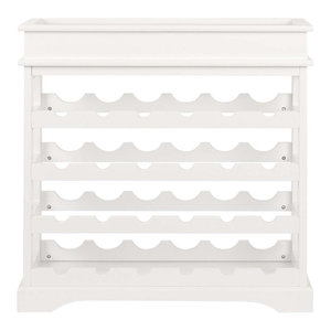 Modern Wine Rack, White Finished Solid Wood, Perfect for Placing 24-Bottle