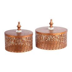 Grecian Round Metal Boxes, Gold, 2-Piece Set