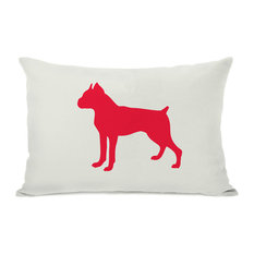"""""""Boxer Silhouette"""" Indoor Throw Pillow by OneBellaCasa, Red, 14""""x20"""""""