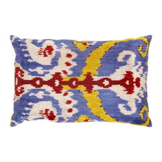 "Pasargad Silk Velvet Ikat Pillows, 16""x24"""