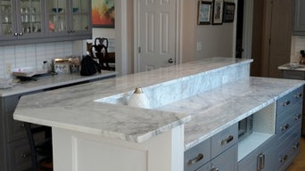 A new look for a kitchen Island, Marble not me, Redo of wood and lights mine.