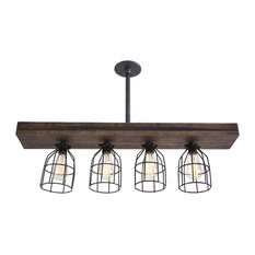 West Ninth Vintage Fayette Triple Wood Light, Dark Stain, Original, With Cage