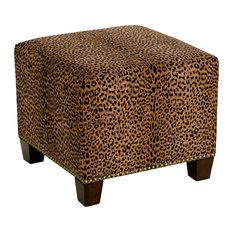 Quinn Square Nail Button Ottoman Cheetah Earth