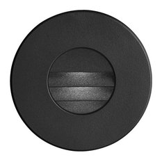 Bran Round Outdoor LED Wall Light With Louver, Black