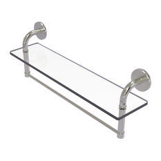 "Remi 22"" Glass Vanity Shelf With Integrated Towel Bar, Satin Nickel"