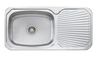 Single Large Bowl Sink With Drainboard Offered on Right or Left
