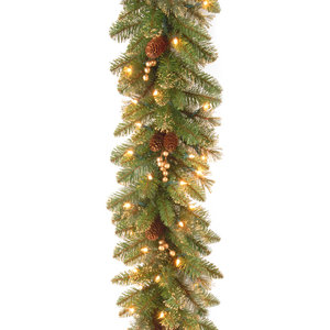 National Tree Company 9' Glittery Gold Pine Garland with Clear Lights