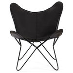 Madeleine Home - Montreux Iron Butterfly Chair With Leather Seat, Black - This classic lounge chair is handcrafted by skilled artisans with genuine hand-finished leather. The hand stitching on the leather creates a unique industrial effect. This chair is a perfect accessory for relaxing in your living room or lounge.