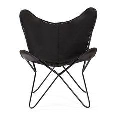 Madeleine Home - Montreux Iron Butterfly Chair With Leather Seat, Black - Armchairs & Accent Chairs
