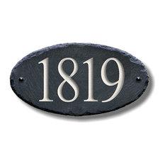 Slate House Number, Carved Stone, Address Plaque/Marker Sign