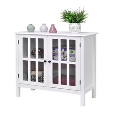 Durable Sideboard Buffet Cabinet With Glass Panel