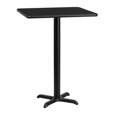 """Dyersburg 24"""" Square Black Laminate Table Top With 42"""" X-Base"""