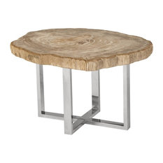 28-inch Wide Coffee Table Petrified Wood Stone Base Stainless Steel Brown