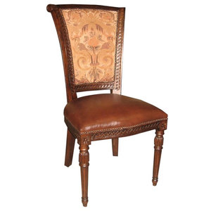 Captains Side Chair Dining Brown Leather