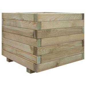vidaXL Planter, Square, Wood, 50x40 cm