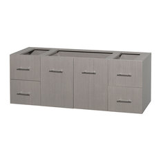 60 in. Single Bathroom Vanity in Gray Oak, No Countertop, No Sink, and No Mirror