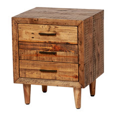 Reclaimed Pine Nightstand Set Of 2 Three Drawers