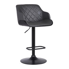 Petyr Adjustable Barstool, Black Powder Coated With Gray Faux Leather
